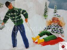 Vintage Tejer patrón * muñecas Barbie Sindy Action Man * Ropa Traje De Esquí Sombrero