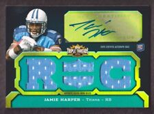 2011 Topps Triple Threads Football Emerald #127A Jamie Harper Jersey Auto 44/50