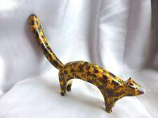 "Jim Lewis Carved 16"" 'Calico Cat' Rare Outsider Folk Art"