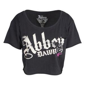 Abbey Dawn Damen Distressed Bauchfreies Top Schwarz