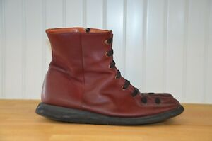 Camper Red Leather Peu Zip Ankle Boots Women's EU 41 US 11