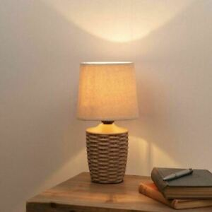 Ceramic Basket Weave Table Lamp with Beige Linen Shade