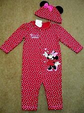 BNWT Baby Girls Disney MINNIE MOUSE Red Sleepsuit/Romper & Hat Outfit 6-9 month