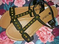 T Strap Sandals - BLACK W/ GOLD STUDS - 5/6/9/10/11 You Chose Size