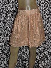 Banana Republic Solid Metallic Peach Floral Lace Lined Skirt Womens 0 NEW