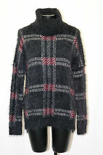 Sanctuary High Low Fuzzy Plaid Turtleneck Sweater Black White Mulberry XS