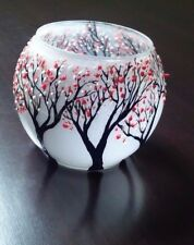 Candles Holders Glass bowl Vase Hand Painted Cheery Blossom Trees Gift tea Light
