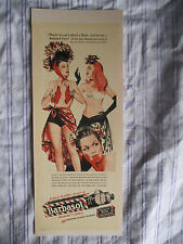 """Vintage Barber Color Sign Ad BARBASOL Sexy Pin Up Model Signed Litho """"BURLESQUE"""""""