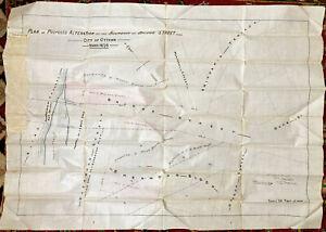 Antique 1870s Hand-drawn City Street Plan Map on Linen Ottawa Ontario Canada