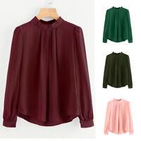 Women Blouse Shirt Fold Loose Casual Chiffon Long Sleeve Shirt Tops Blouse Shirt
