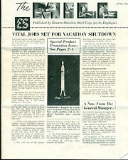 THE MILL June 1958 8-page Eastern Stainless Steel Corp. newsletter Baltimore MD