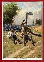 Künstler Märchen AK von PAUL HEY um 1940 Der Hase und der Igel  ( 66919