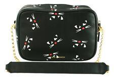 Lulu Guinness Amber Cross Body Bag Cat Logo Black & Chalk Leather Medium Handbag