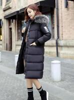 Women Long Down Cotton Parka Coat Girls Warm Hood Puffer Jacket Fur Collar Ske15