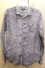 John Varvatos Purple Indigo Yarn Dyed Linen Button Shirt Men's L Long Sleeve