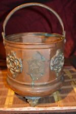 Antique Middle Eastern Copper Pail / Planter, Copper Camels & Panels w/ Handle