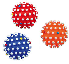 DOG TOY BALL Vinyl Dog Toy WITH SQUEAKER 6cm Colours Vary Squeak x1