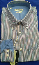 Men's Shirt Long-Sleeve Dress Shirt Ascot Sport Multi-Color Striped M FREEUSSHIP