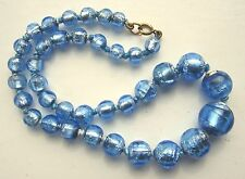 Antique Venetian Foil Glass beads necklace graduated pearly blue knotted VGC