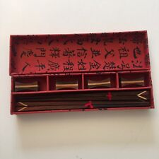 Asian wood chop sticks with  holder / rest with case