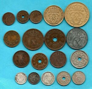 18 DANISH COINS 1856 - 1944. SOME HAVE SILVER IN THEM. DENMARK JOB LOT.