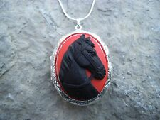 (LOCKET)- BLACK HORSE (BLACK/RED) CAMEO LOCKET!! QUALITY!! GIFTS, CHRISTMAS