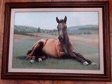 Original acrylic painting Adeline Halvorson horse foal colt value $4200 framed