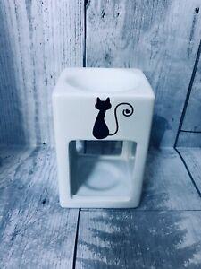 Vinyl Decal Cat Love Ceramic Oil Burner Wax Melt Tea Light Holder Birthday Gift