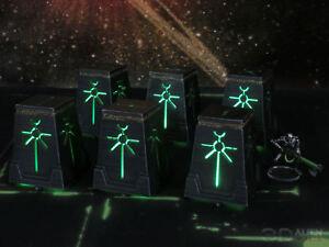 CC3D - Runic/ Necron Object Pillars - Wargames Miniatures Scenery 40k 28mm 15mm