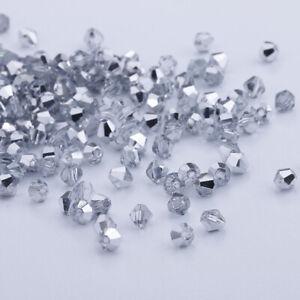 200pcs 4mm Austria Glass Crystal Bicone beads Half white K DIY Jewelry making