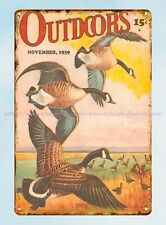 bar pub signs Outdoors 1939 magazine cover geese duck hunting metal tin sign