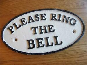 SOLID CAST IRON VINTAGE BLACK & WHITE OVAL WALL PLAQUE SIGN PLEASE RING THE BELL