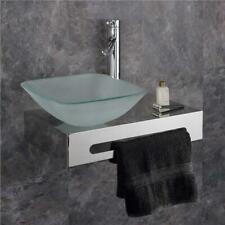 Space Saving Basin Wall Mounted 500mm Steel Shelf Glass Basin Bathroom Sink Set