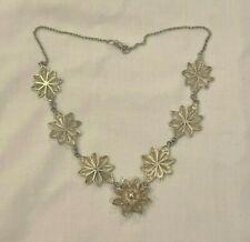 Filigree Flower Necklace Vintage Sterling Silver Victorian