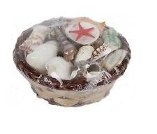 Assorted Sea Shell Collection in Mini Wicker Basket Bathroom Accessory 11cm
