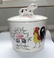ViNTaGe 50s Japan RooSTeR & RoSEs Butter Cheese Dish Bowl Crock ~ Cow Finial Lid