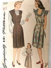 Vtg Sew Pattern Simplicity #1228 Maternity Jumper, Blouse, Sun Dress Size 14 40s