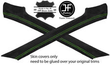 GREEN STITCH 2X A PILLAR REAL SUEDE COVERS FITS PORSCHE 924 944 75-91 STYLE 2