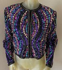 Brilliante by J.A. Sequin Multi Color Shrug Cropped Jacket Women's Large L