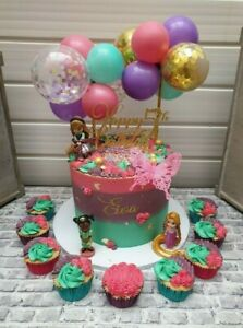 BALLOON CAKE TOPPER GOLD CONFETTI BRIDE BIRTHDAY PARTY MINI GARLAND MINT VIOLET