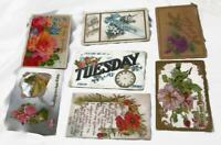 7 Antique Postcards - Floral Poppies Roses Forget-Me-Nots