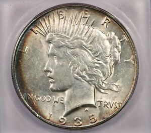 1935-P 1935 Peace Dollar S$1 ICG MS62 Handsomely toned!