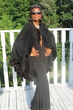 New Fab Designer Black wool and Ruffled mink Fur Cape shawl for coat jacket  OS