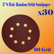 "5"" 8 Hole 60 Grit Sand Disc Paper Random Orbit Hook and Loop Sander #60 Sanding"