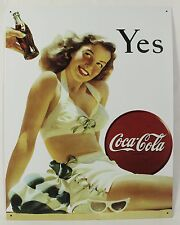 YES COCA-COLA BATHING BEAUTY METAL SIGN Swimsuit Coke NEW Vintage Repro Tin Ad