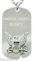 """NAVY SEAL LOGO REGULATION SILVER  MILITARY ENGRAVABLE DOG TAG WITH 24"""" CHAIN"""