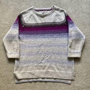 Weird Fish jumper size 16 grey purple sweater pullover