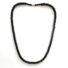 JET BLACK BEADS GOTH SURF BEACH STYLE ROUND BEADED SKATER NECKLACE WITH CLASP