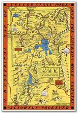 Hysterical MAP of Yellowstone National Park & Jackson Hole Country circa 1935