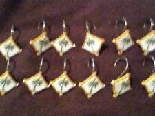 Set of 12 Palm Tree Shower Curtain Hooks